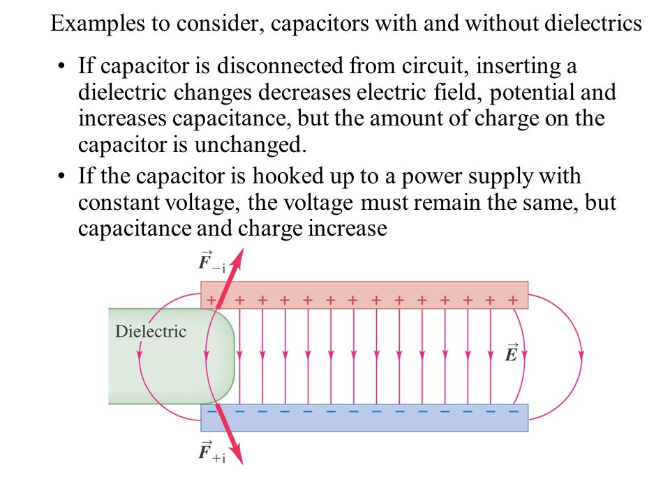 Examples to consider, capacitors with and without dielectrics