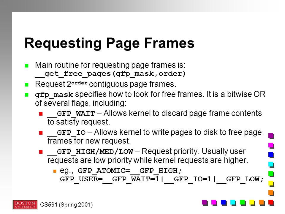 Requesting Page Frames