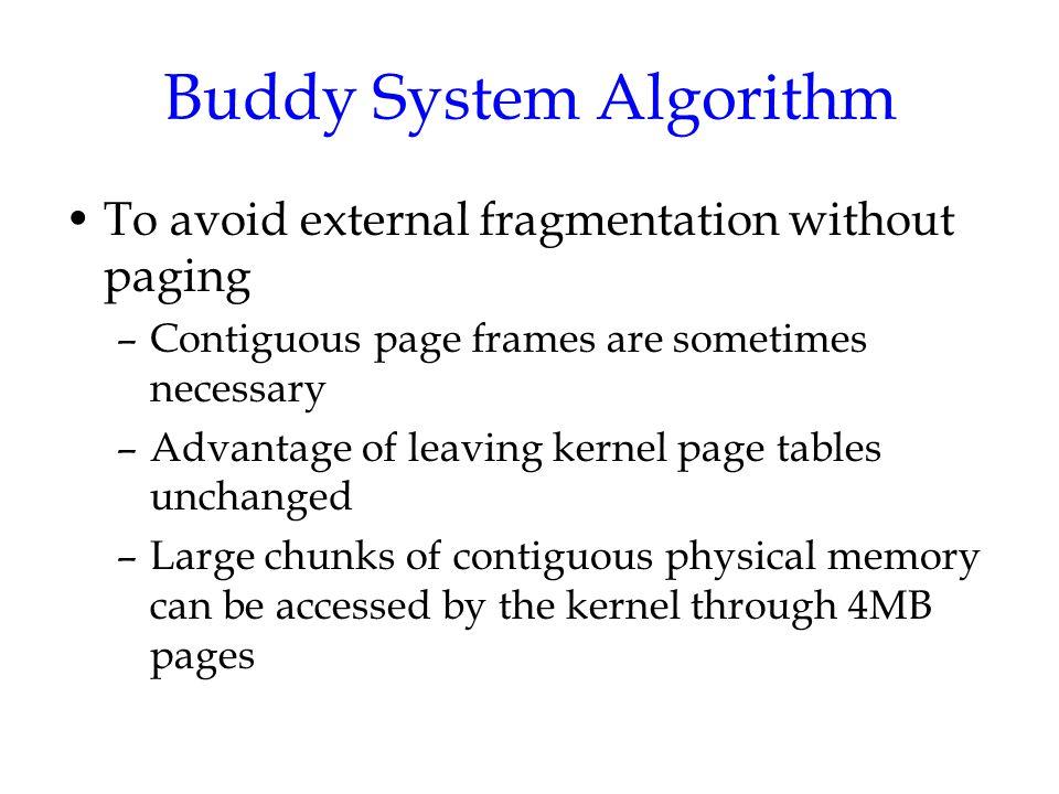 Buddy System Algorithm