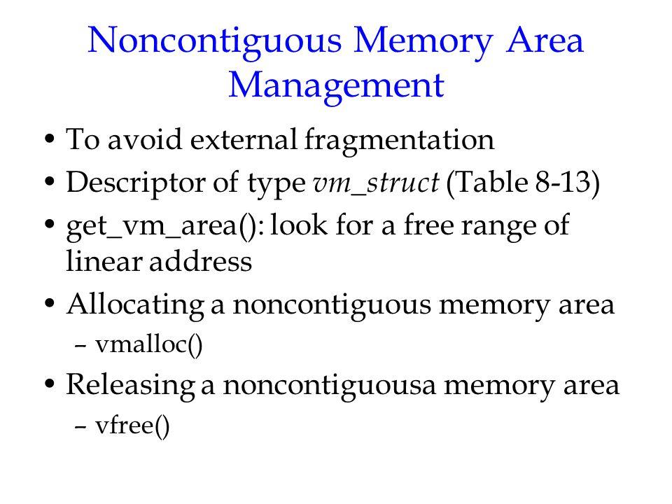 Noncontiguous Memory Area Management