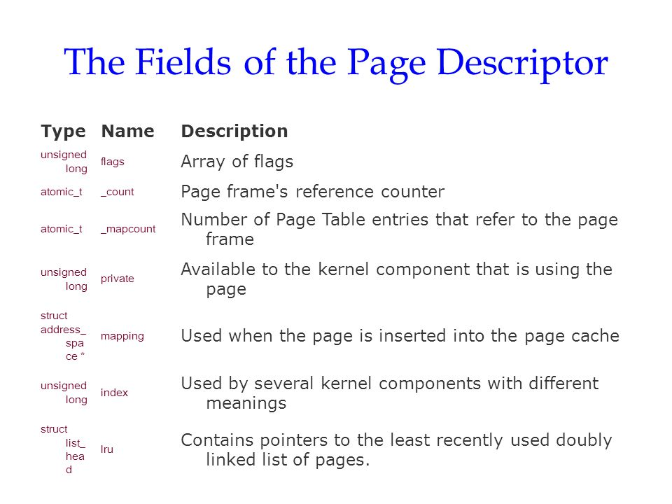 The Fields of the Page Descriptor
