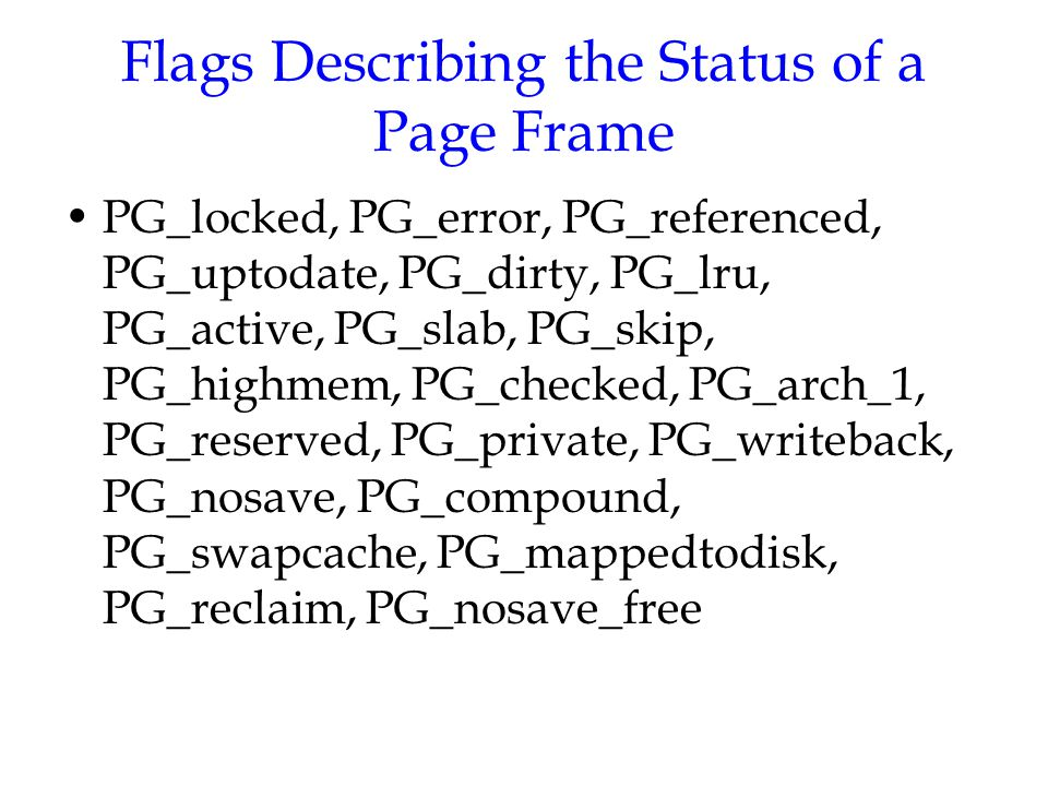 Flags Describing the Status of a Page Frame