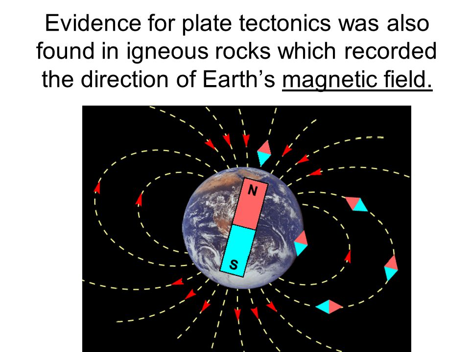 Evidence for plate tectonics was also found in igneous rocks which recorded the direction of Earth's magnetic field.