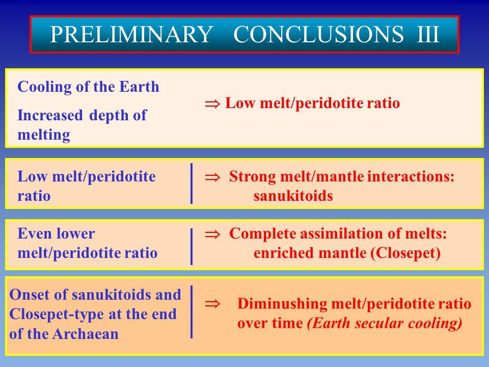 PRELIMINARY CONCLUSIONS III