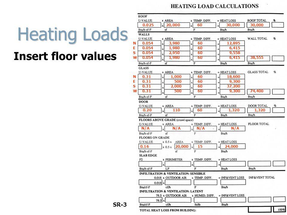 Heating Loads Insert floor values SR-3 0.025 20,000 60 30,000 30,000
