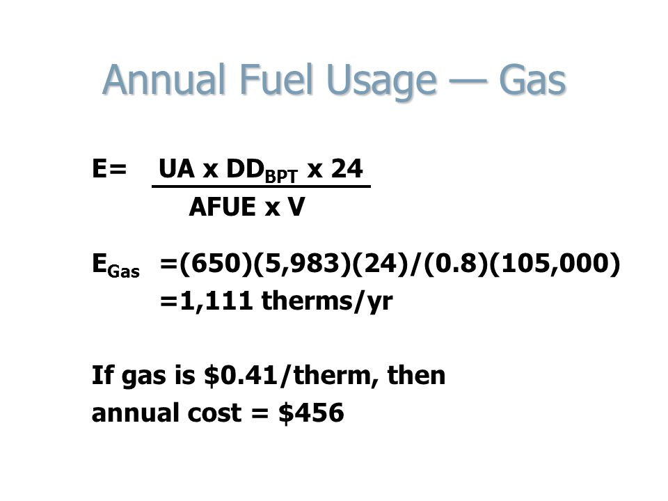 Annual Fuel Usage — Gas E= UA x DDBPT x 24 AFUE x V