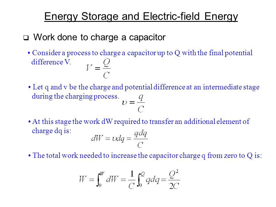 Energy Storage and Electric-field Energy