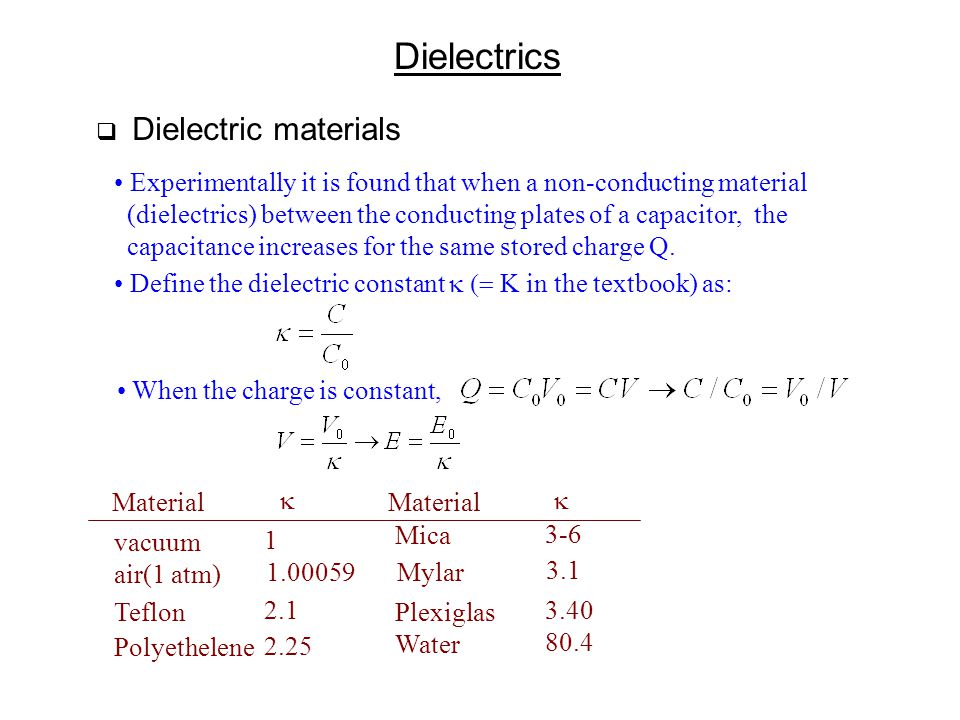 Dielectrics Dielectric materials. Experimentally it is found that when a non-conducting material.