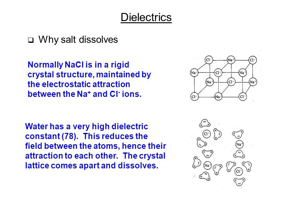 Dielectrics Why salt dissolves.