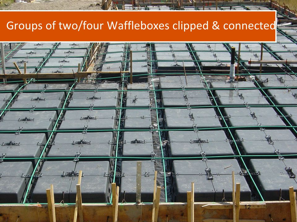 Groups of two/four Waffleboxes clipped & connected