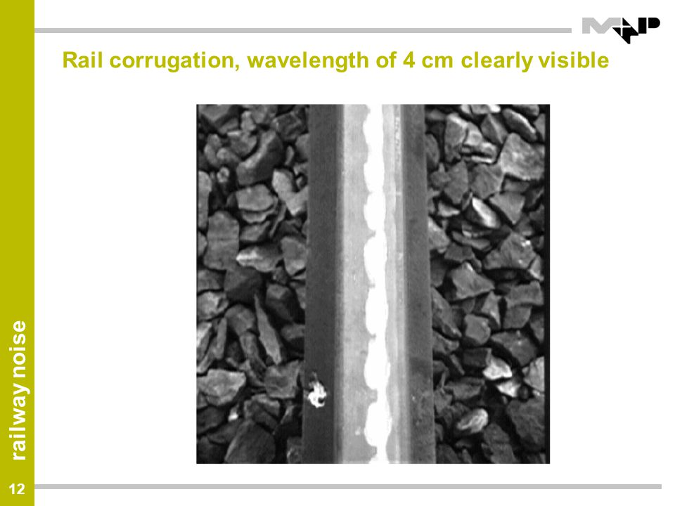 Rail corrugation, wavelength of 4 cm clearly visible