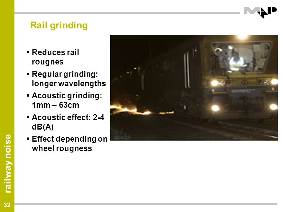 Rail grinding Reduces rail rougnes