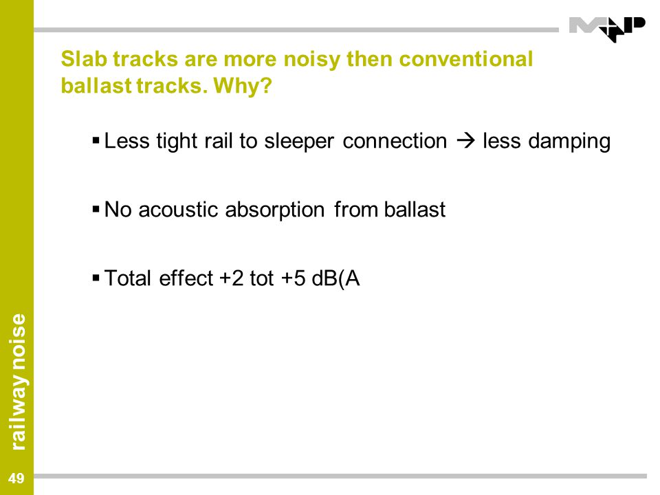 Slab tracks are more noisy then conventional ballast tracks. Why