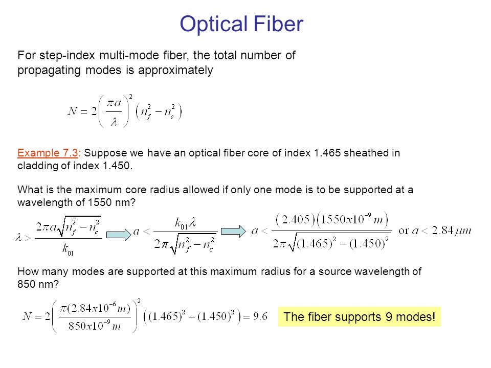 Optical Fiber For step-index multi-mode fiber, the total number of propagating modes is approximately.