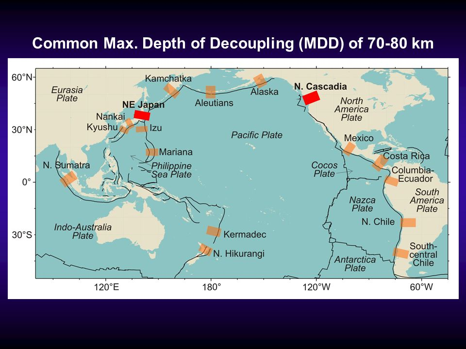 Common Max. Depth of Decoupling (MDD) of 70-80 km