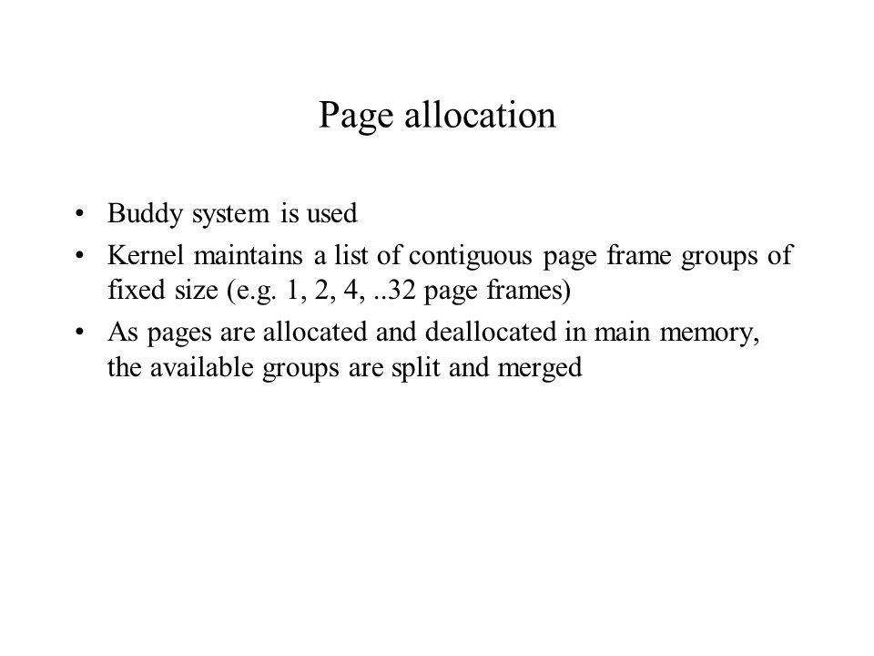 Page allocation Buddy system is used