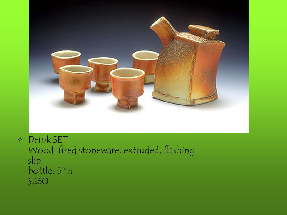 Drink SET Wood-fired stoneware, extruded, flashing slip