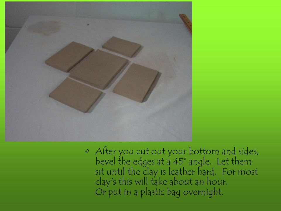 After you cut out your bottom and sides, bevel the edges at a 45* angle.