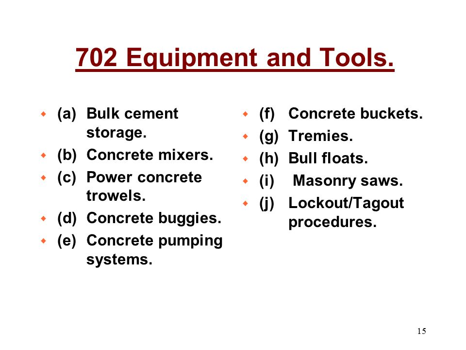 702 Equipment and Tools. (a) Bulk cement storage. (b) Concrete mixers.