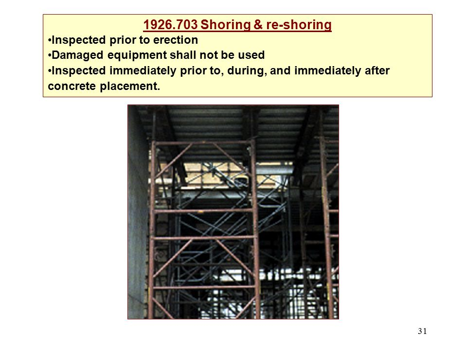 1926.703 Shoring & re-shoring Inspected prior to erection