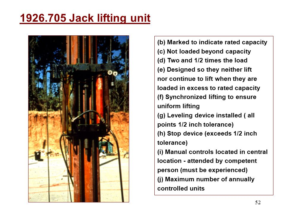 1926.705 Jack lifting unit (b) Marked to indicate rated capacity