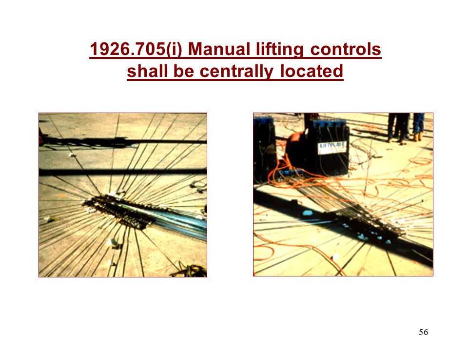 1926.705(i) Manual lifting controls shall be centrally located