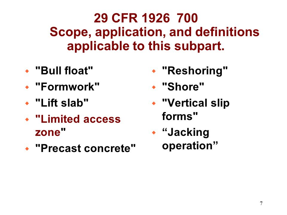 29 CFR 1926 700 Scope, application, and definitions applicable to this subpart.