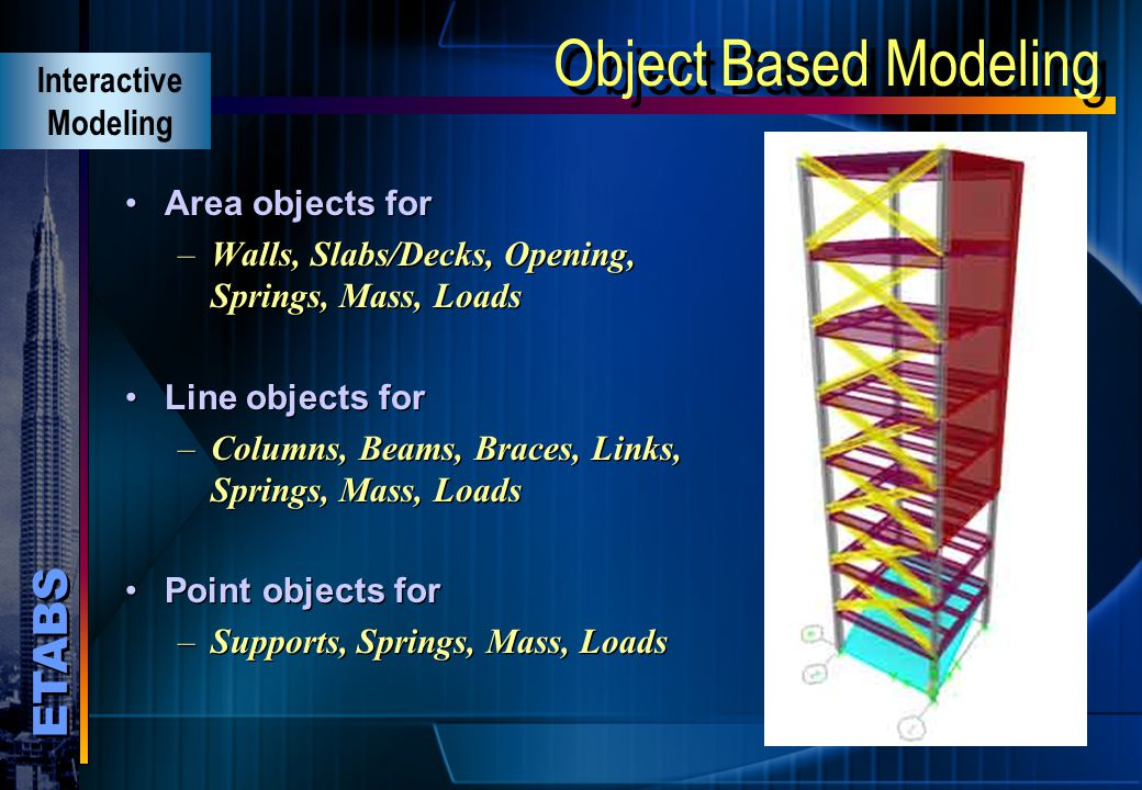 Object Based Modeling Interactive Modeling Area objects for
