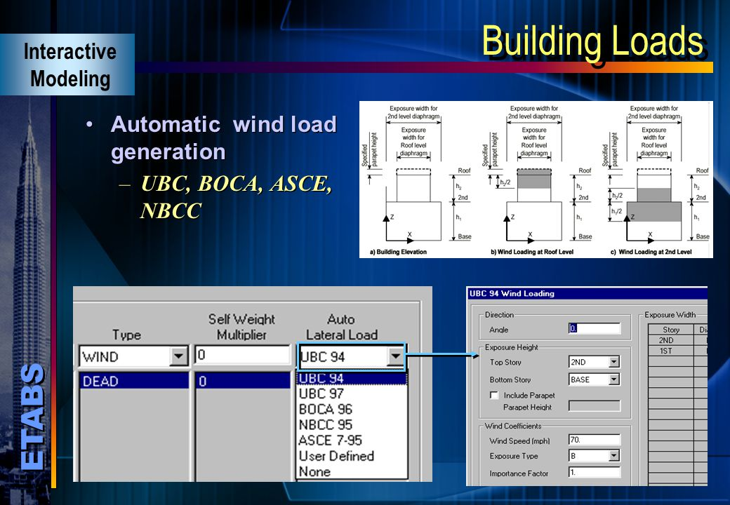 Building Loads Interactive Modeling Automatic wind load generation