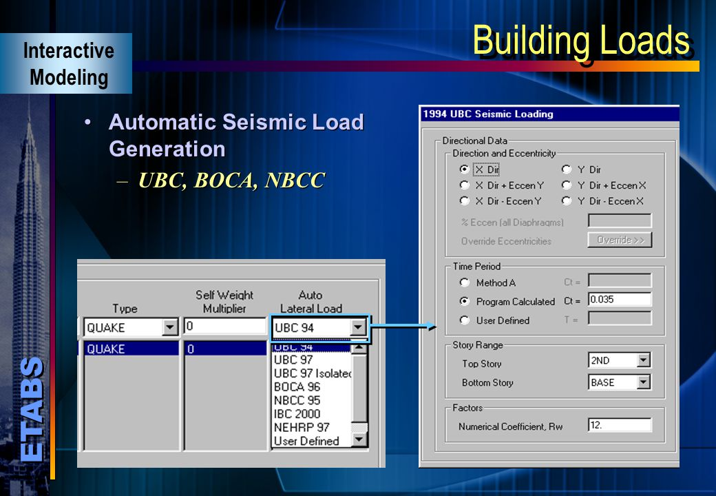 Building Loads Interactive Modeling Automatic Seismic Load Generation