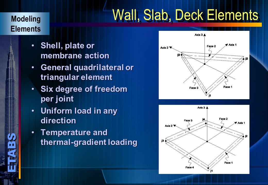 Wall, Slab, Deck Elements