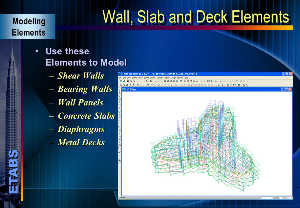 Wall, Slab and Deck Elements