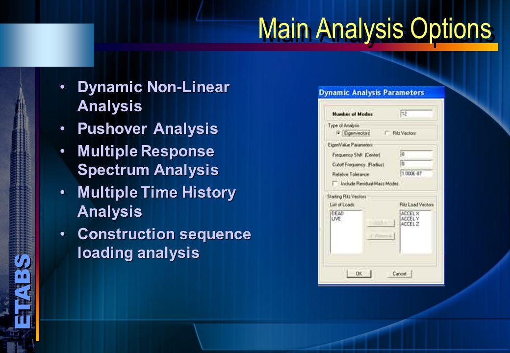 Main Analysis Options Dynamic Non-Linear Analysis Pushover Analysis
