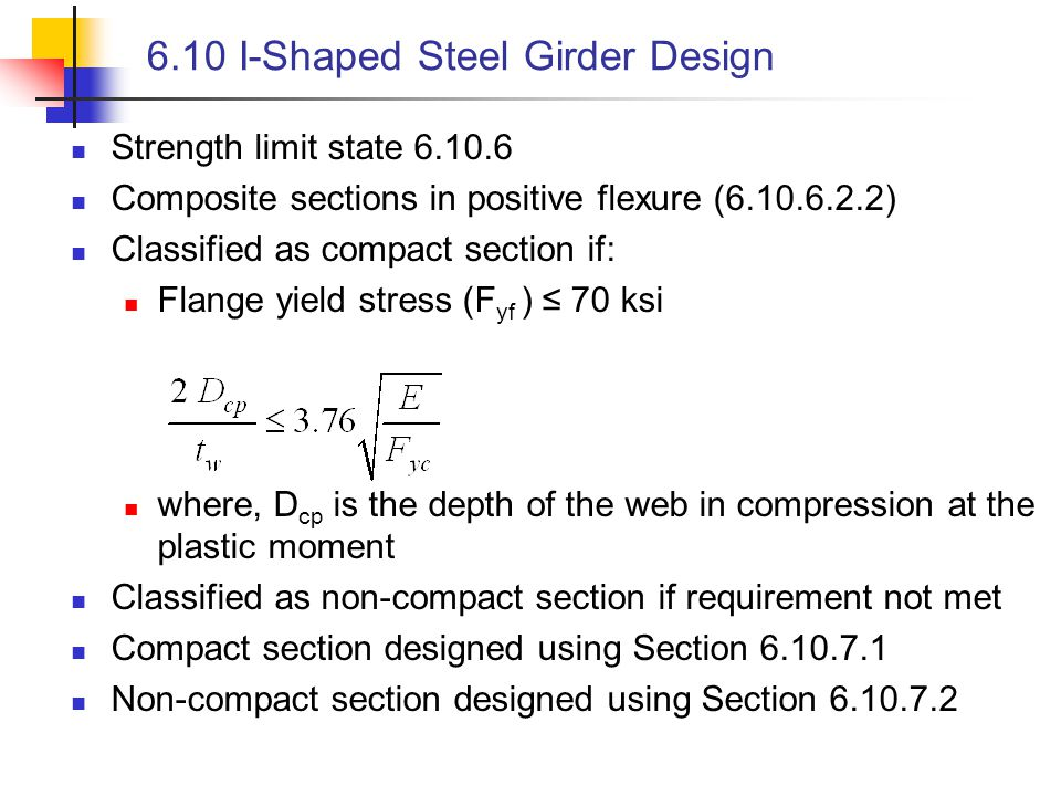 6.10 I-Shaped Steel Girder Design