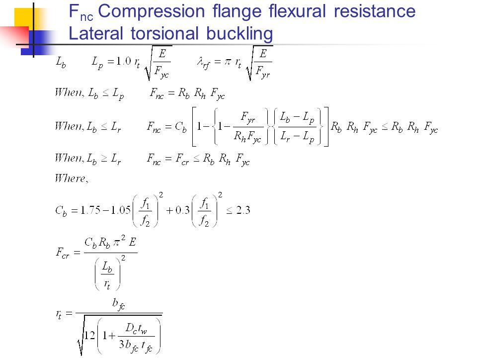 Fnc Compression flange flexural resistance Lateral torsional buckling