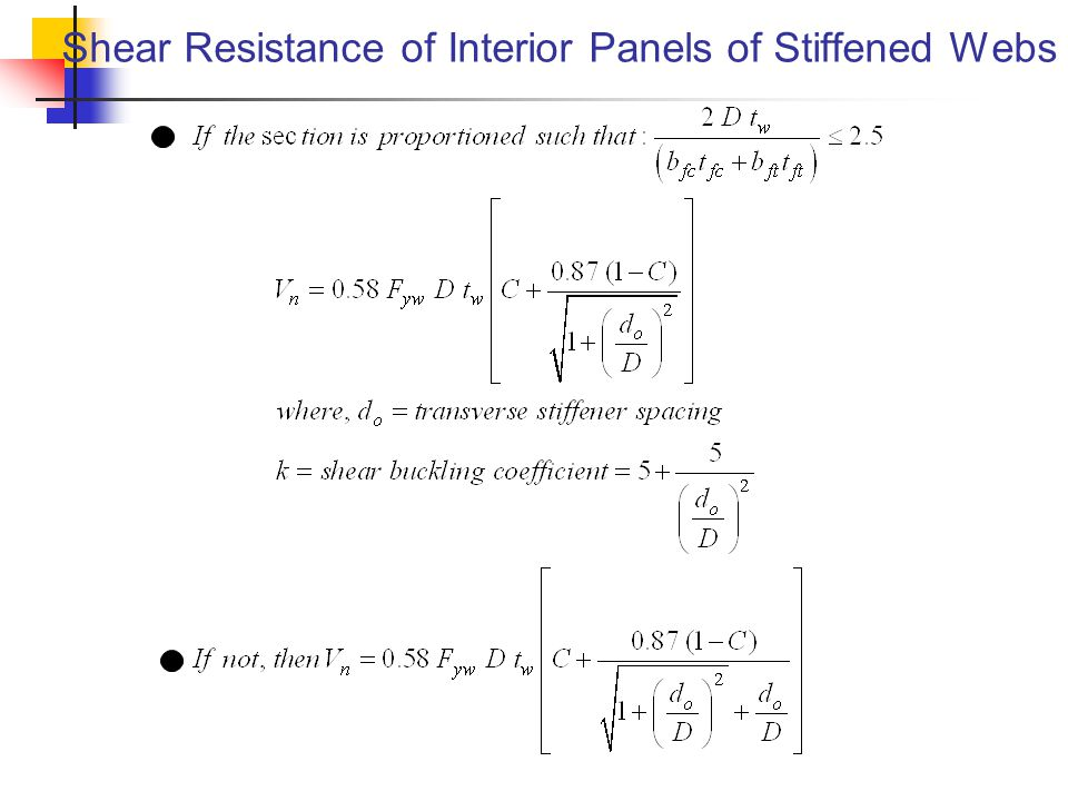 Shear Resistance of Interior Panels of Stiffened Webs
