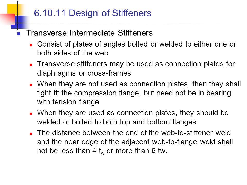 6.10.11 Design of Stiffeners Transverse Intermediate Stiffeners