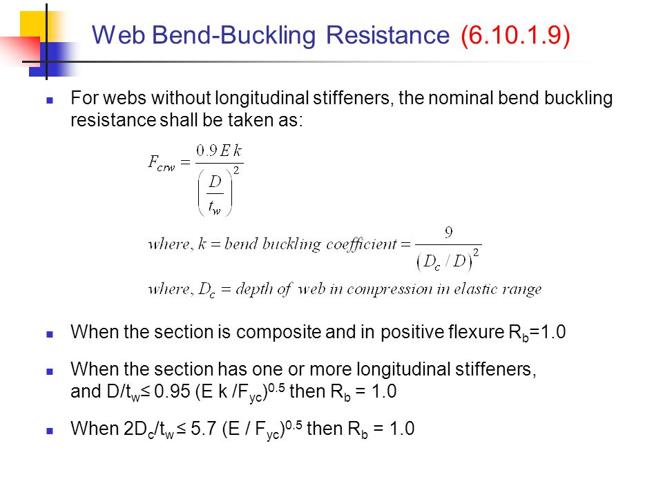 Web Bend-Buckling Resistance (6.10.1.9)