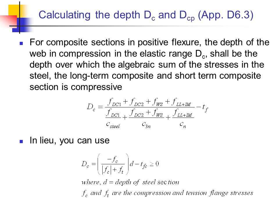 Calculating the depth Dc and Dcp (App. D6.3)