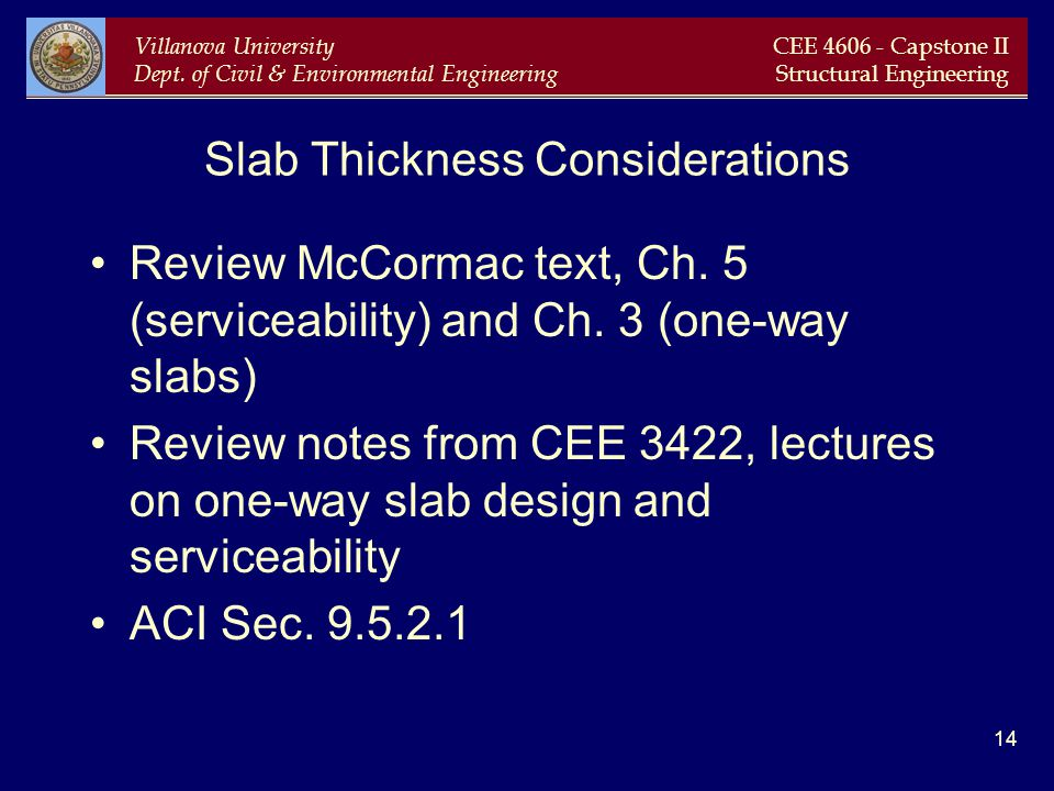 Slab Thickness Considerations