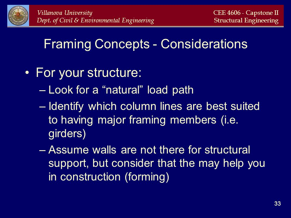 Framing Concepts - Considerations