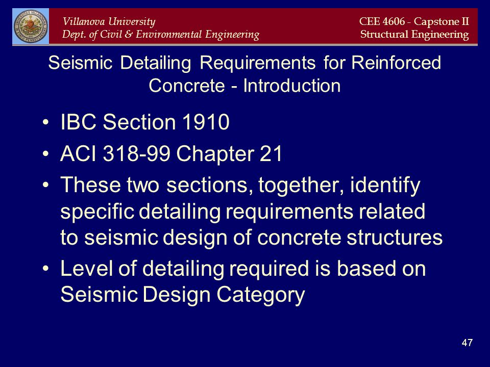 Seismic Detailing Requirements for Reinforced Concrete - Introduction