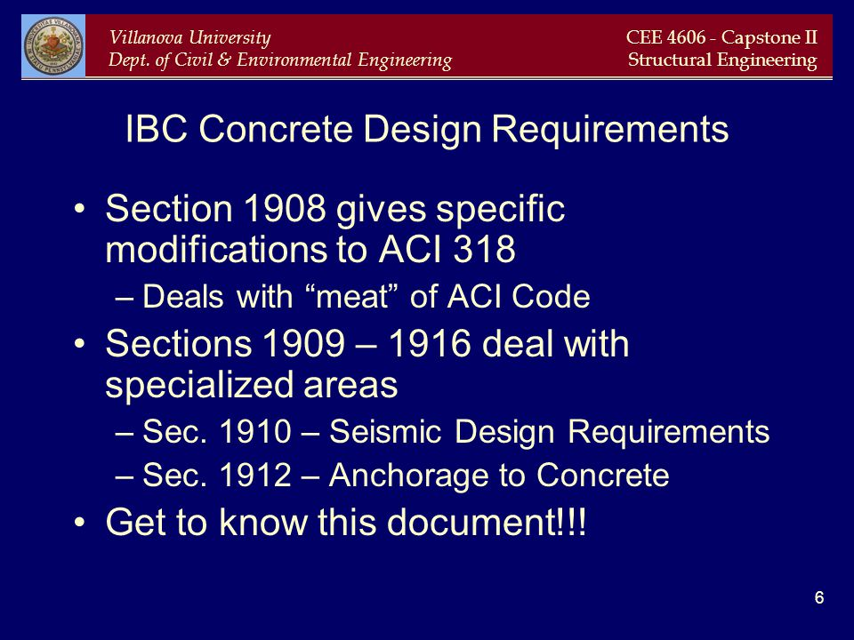 IBC Concrete Design Requirements