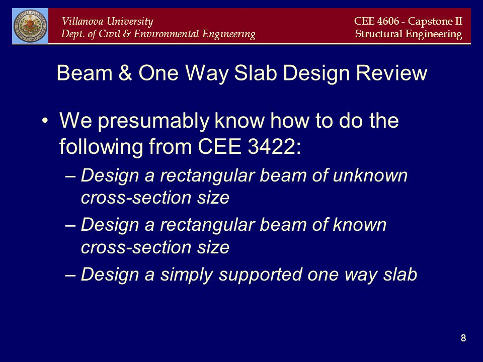 Beam & One Way Slab Design Review