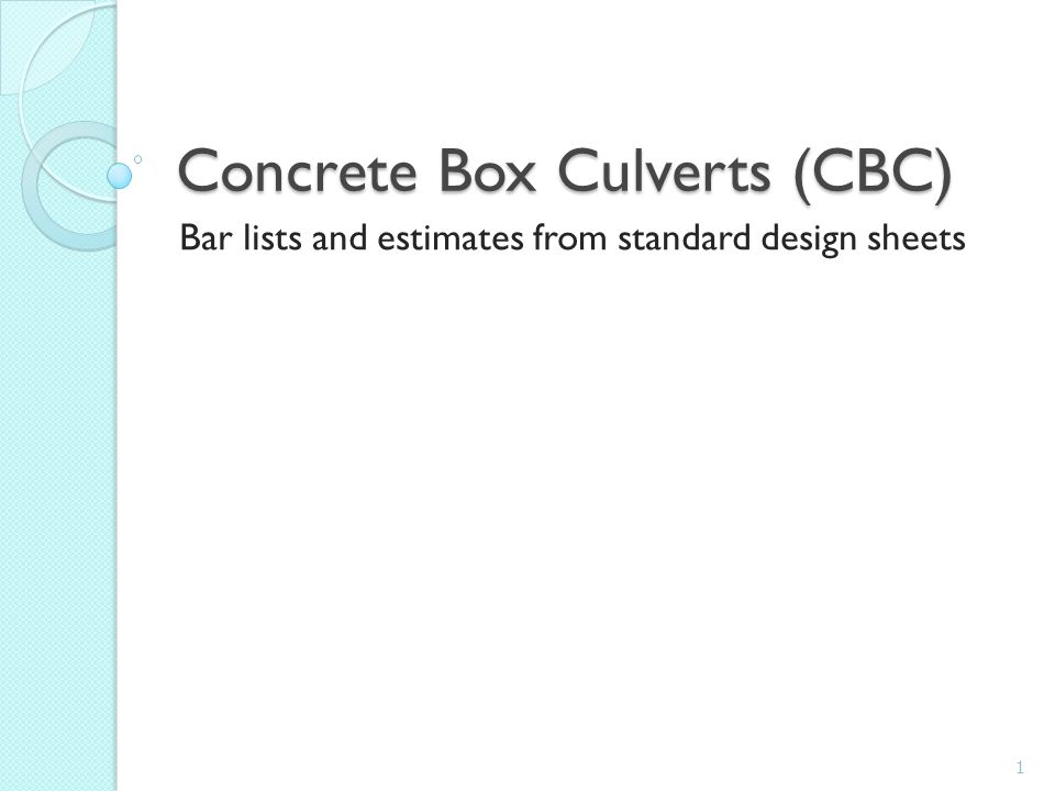 Concrete Box Culverts (CBC)