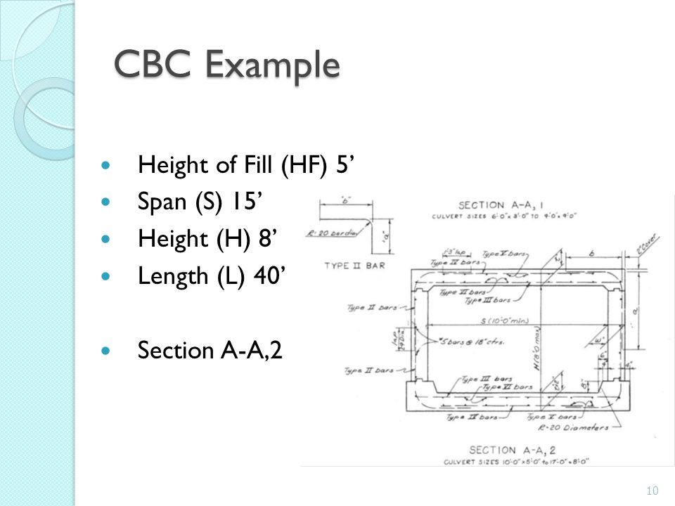 CBC Example Height of Fill (HF) 5' Span (S) 15' Height (H) 8'
