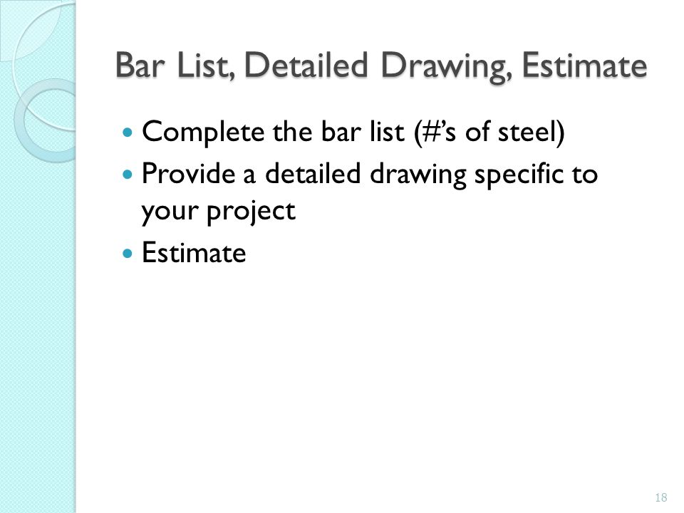 Bar List, Detailed Drawing, Estimate
