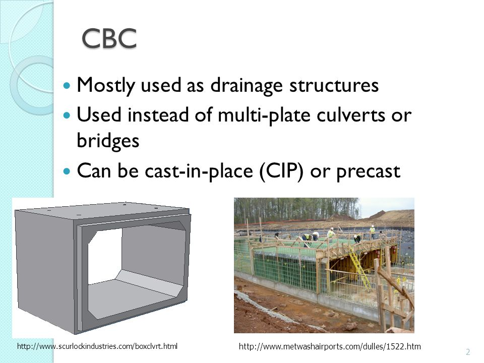 CBC Mostly used as drainage structures