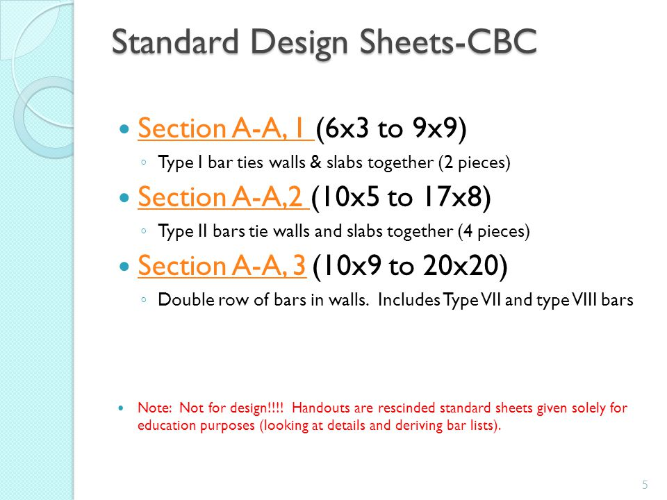 Standard Design Sheets-CBC