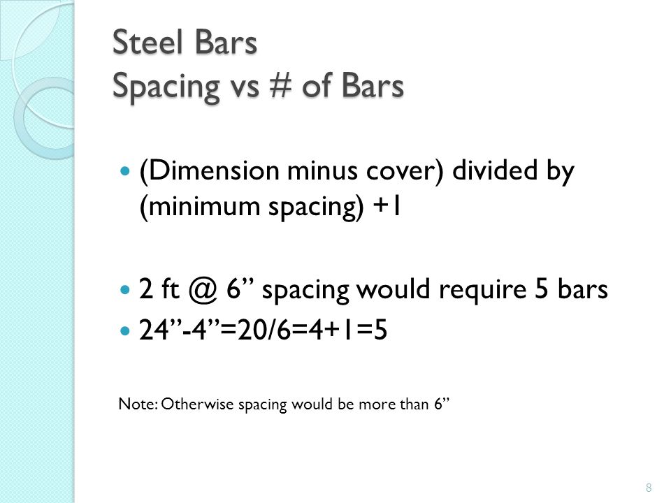 Steel Bars Spacing vs # of Bars